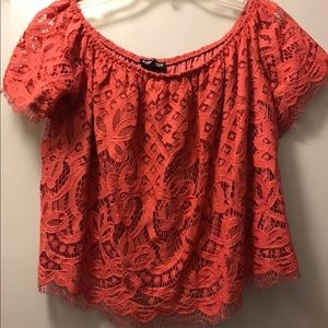 Express Pink Lace Crop Top. NWT. S